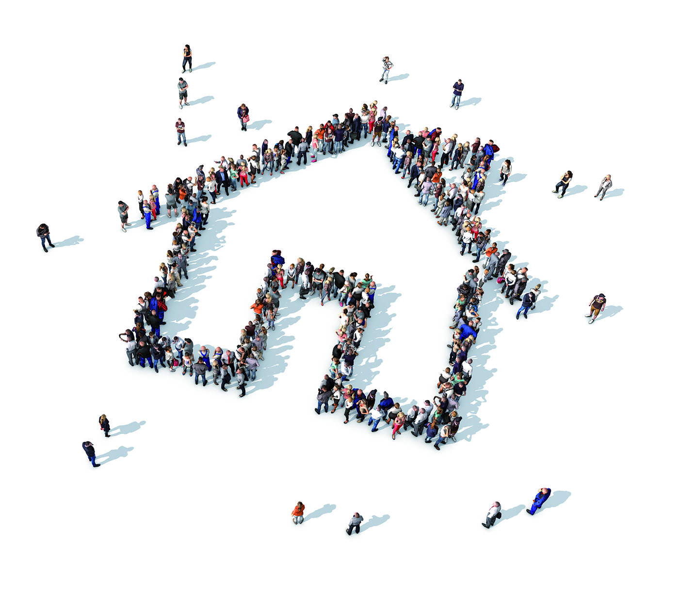 Large collection of people grouped together to form a house icon